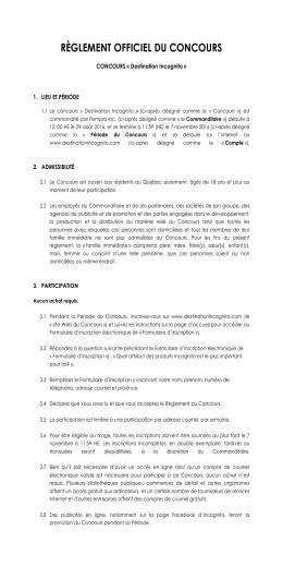 Règlement du concours - Destination Incognito
