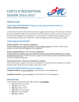 couts d`inscription saison 2016-2017
