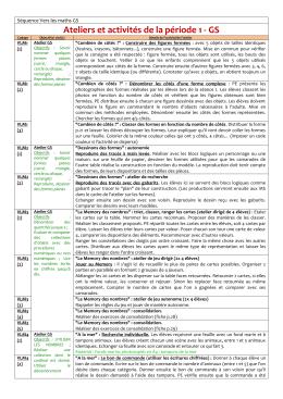 Ateliers et activités de la période 1