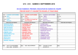 Convocations U13-U12