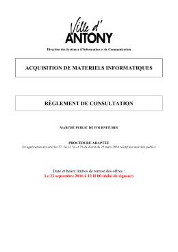Règlement de consultation