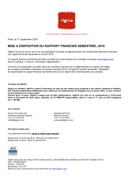 mise a disposition du rapport financier semestriel 2016