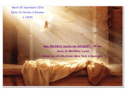 Mardi 05 Septembre 2016 Église St Nicolas à Raismes à 14h30