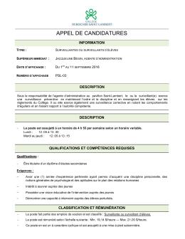 appel de candidatures - Réseau Info Éducation AMEQ en ligne