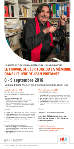 8 - 9 septembre 2016 - Université du Luxembourg
