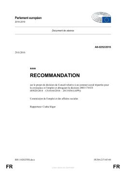 FR FR *** RECOMMANDATION
