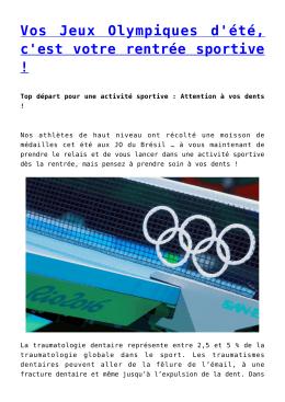Vos Jeux Olympiques d`été, c`est votre rentrée sportive !