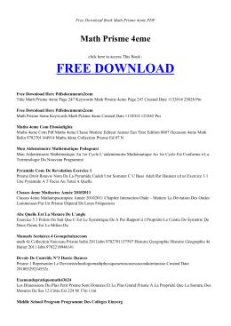 MATH PRISME 4EME - Free PDF Books