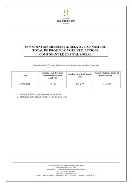 Droits de vote au 31 08 2016