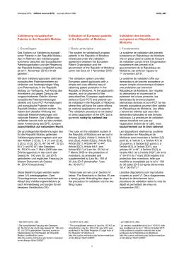 Validierung europäischer Patente in der Republik Moldau