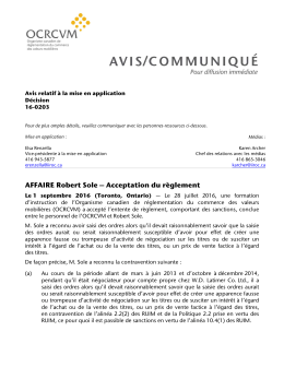Affaire Robert Sole – Acceptation du règlement