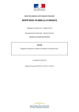 BOFIP-RHO-16-0669 du 01/09/2016 : Délégation de signature