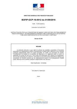 BOFIP-GCP-16-0012 du 01/09/2016 - Portail de l`économie et des