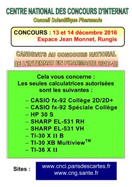 CONCOURS : 13 et 14 décembre 2016 Espace Jean Monnet