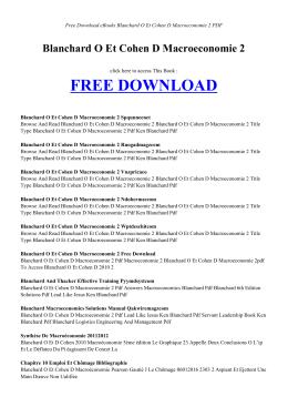 BLANCHARD O ET COHEN D MACROECONOMIE 2 - Free