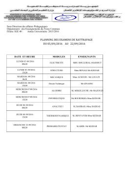 du 05/09/2016 au 22/09/2016 planning des examens de rattrapage