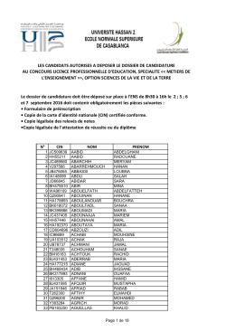 les candidats autorises a deposer le dossier de candidature au
