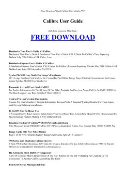 CALIBRE USER GUIDE - Free PDF Books
