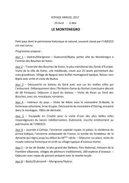 Programme du voyage montenegro 2017