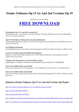 ETUDES TABLEAUX OP 33 1ST AND 2ND VERSIONS OP 39