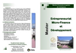 Entrepreneuriat, microfinance et développement