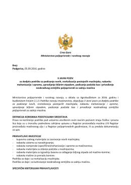 Podgorica, 05.09.2016. godine II JAVNI POZIV za dodjelu podrške