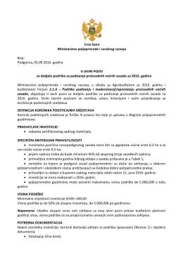 II Javni poziv za dodjelu podrske za podizanje