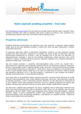 Kako napisati predlog projekta - treći deo