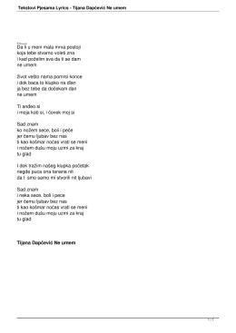 Tekstovi Pjesama Lyrics - Tijana Dapčević Ne umem