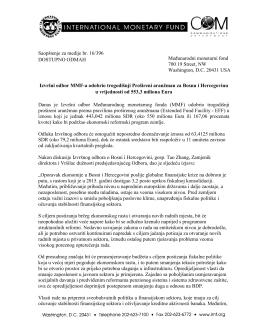 Izvršni odbor MMF-a odobrio trogodišnji Prošireni aranžman
