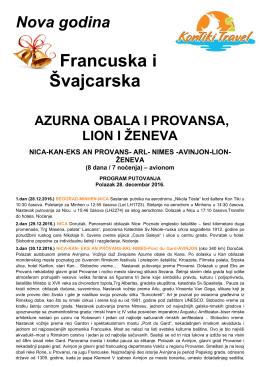 Azurna obala i Provansa sa Zenevom NG 2016-17 KT Travel