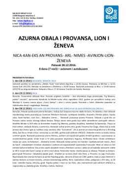 Azurna obala, Provansa,Lion i Zeneva 28.12.16. BB