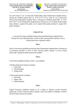 Zaključak o osnivanju Privremene zajedničke komisije oba doma
