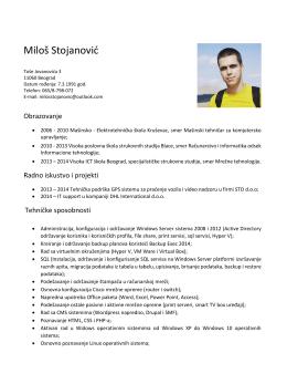 Preuzmi CV - Miloš Stojanović