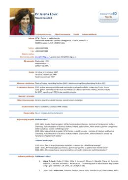 Dr Jelena Lović - IHTM-a