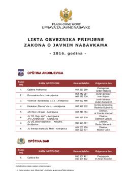 Vlada Crne Gore - Uprava za javne nabavke Crne Gore