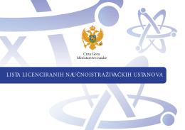 lista licenciranih naučnoistraživačkih ustanova