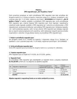 PRAVILA SMS nagradne igre - dm drogerie markt Bosna i