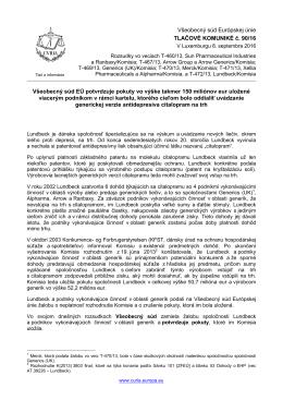 Všeobecný súd EÚ potvrdzuje pokuty vo výške - curia