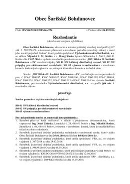 Rozhodnutie - povolenie stavby IBV Hôrka