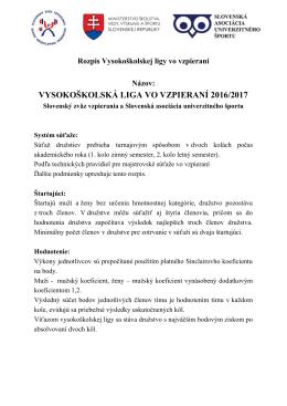 VŠ Liga 2016/2017 rozpis - Slovenský zväz vzpierania