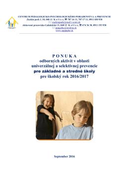 Ponukový list oddelenie sociálneho vývinu a prevencie v školskom