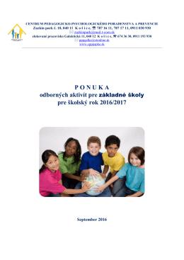 Ponukový list pre základné školy v školskom roku 2015/16