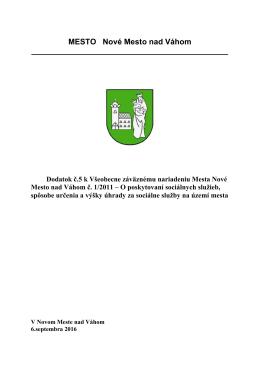 Schválenie dodatku č. 5 k VZN č. 1/2011
