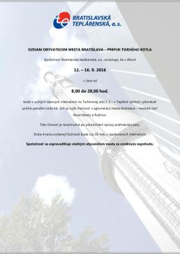 Oznam – prefuk parného kotla - Bratislavská teplárenská, as