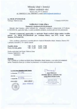 Veřejná vyhláška (Usnesení o ustanovení opatrovníka)