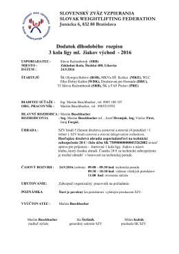 Východ Dodatok rozpisu 3 kola Ligy ml. žiakov 2016