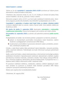 Informácie pre študentov I. ročníka