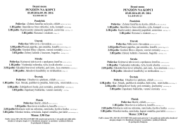 Denné menu - Penzión na Kopci