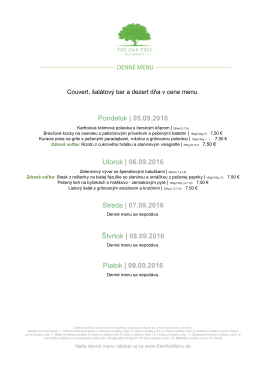 Denné menu THE OAK TREE RESTAURANT 05.09.2016